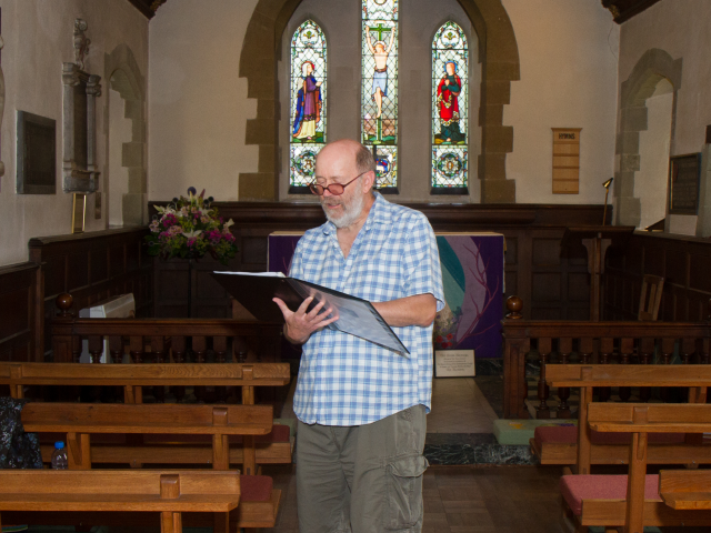 Reading poetry in St. Andrew's Bemerton
